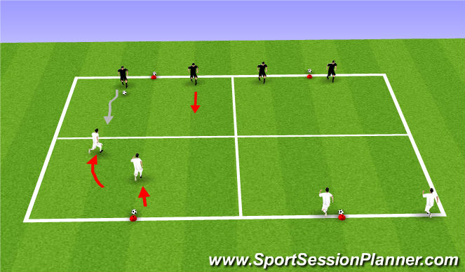 Football/Soccer Session Plan Drill (Colour): Cone Ball 2v2