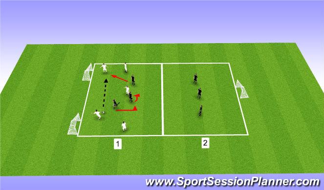 Football/Soccer Session Plan Drill (Colour): 5v3 - Preventing Penetration