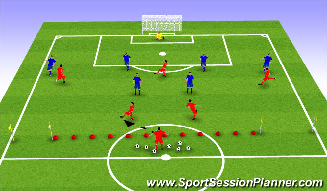 Football/Soccer Session Plan Drill (Colour): POP 2 Zone 3-4