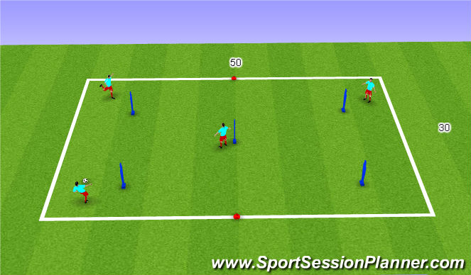 Football/Soccer Session Plan Drill (Colour): P & R 3 Prog 3