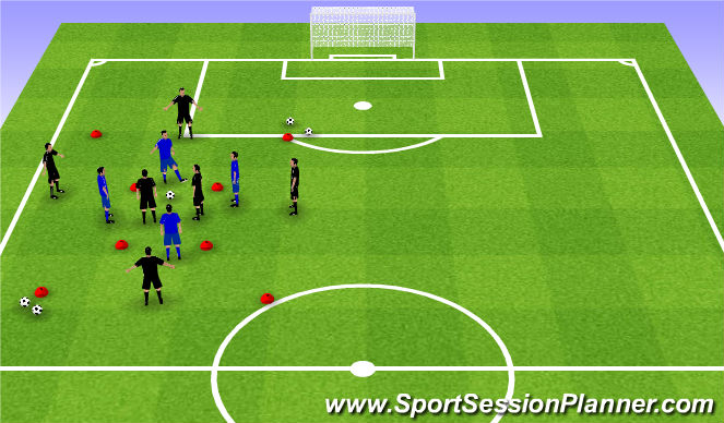 Football/Soccer Session Plan Drill (Colour): Skill Intro (20 mins)