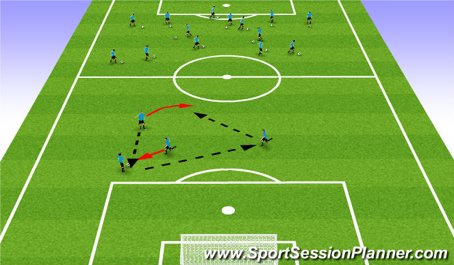 Football/Soccer Session Plan Drill (Colour): Technical warm up part one