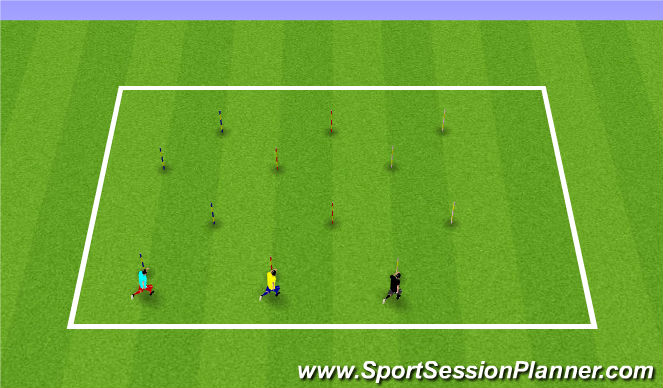 Football/Soccer Session Plan Drill (Colour): Zig-Zag Sprints
