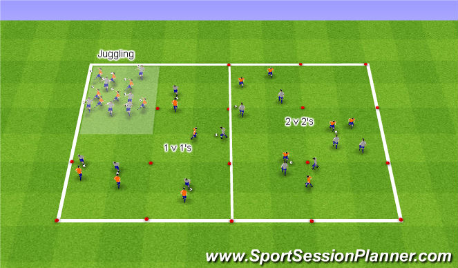 Football/Soccer Session Plan Drill (Colour): Warm Up Ball Circuit