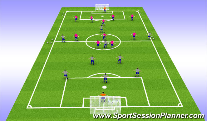 Football/Soccer Session Plan Drill (Colour): 9 v 7 (Within 7 passes to Create & quick Counter)