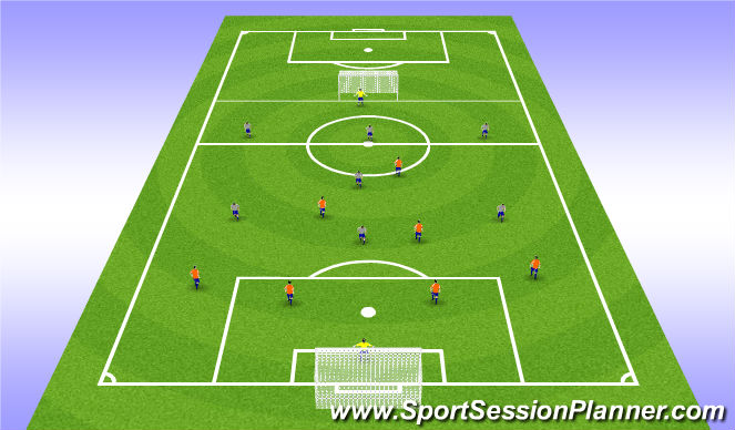 Football/Soccer Session Plan Drill (Colour): 7 v 7 or 8 v 8