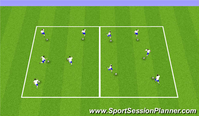 Football/Soccer Session Plan Drill (Colour): Dribble 1,2,3,4,5