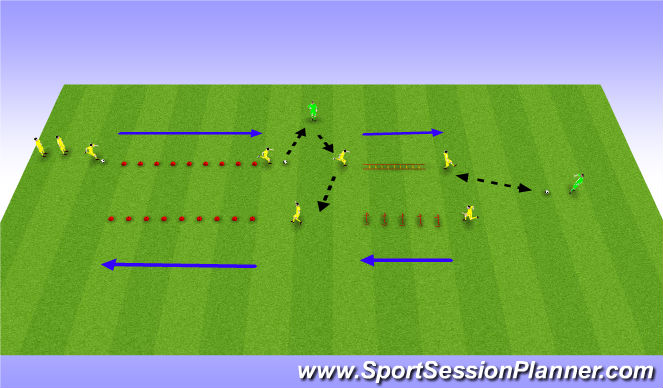 Football/Soccer Session Plan Drill (Colour): 10 cone/agility