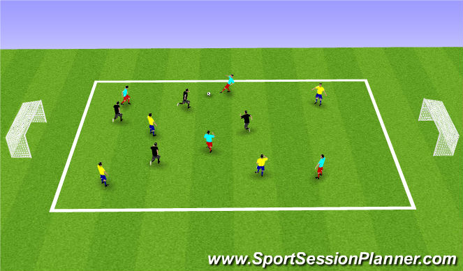 Football/Soccer Session Plan Drill (Colour): 8 v 4