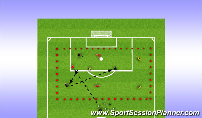 Football/Soccer Session Plan Drill (Colour): 2 Squads vs 1