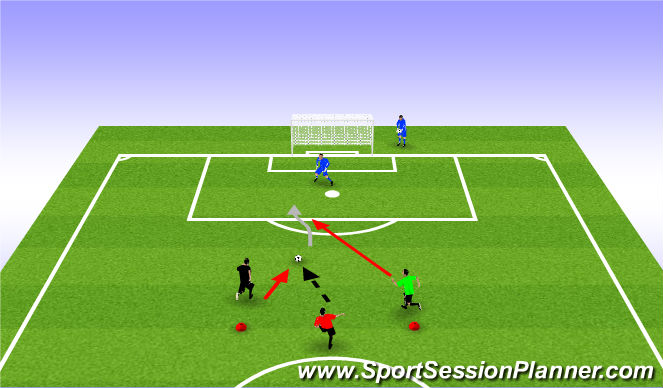 Football/Soccer Session Plan Drill (Colour): 1v1 side on