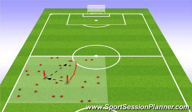 Football/Soccer Session Plan Drill (Colour): passing game with gates