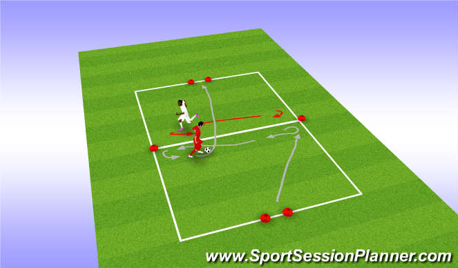 Football/Soccer Session Plan Drill (Colour): Turn and beat