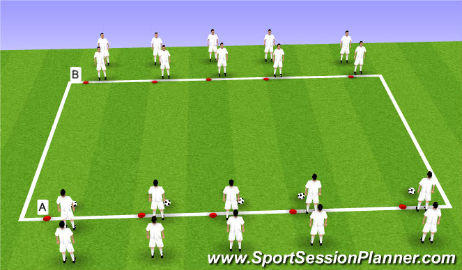 Football/Soccer Session Plan Drill (Colour): Step 1: Passing Warm Up