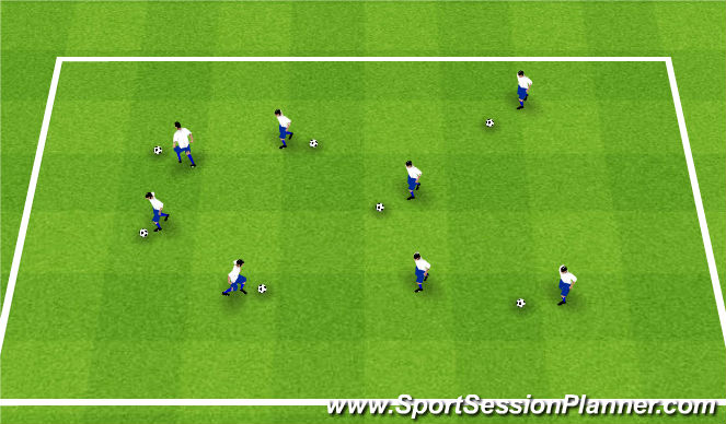 Football/Soccer Session Plan Drill (Colour): Ball control warm up