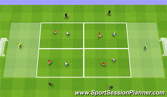 Football/Soccer Session Plan Drill (Colour): ESSG 4v4 + 6