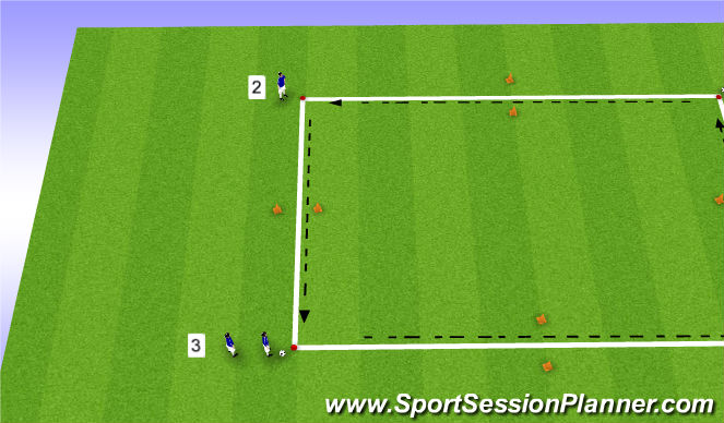 Football/Soccer Session Plan Drill (Colour): Passe et va Carré1