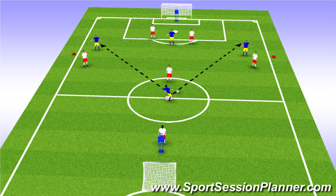 Football/Soccer Session Plan Drill (Colour): Wide Play 1