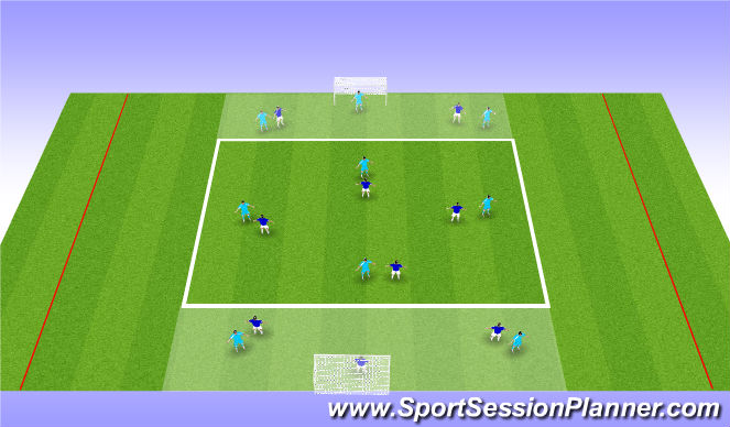 Football/Soccer Session Plan Drill (Colour): Playing out from the back - diamond