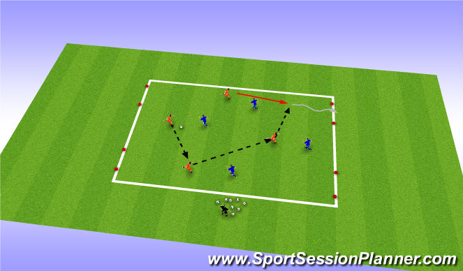 Football/Soccer Session Plan Drill (Colour): SSG - 4 goal game