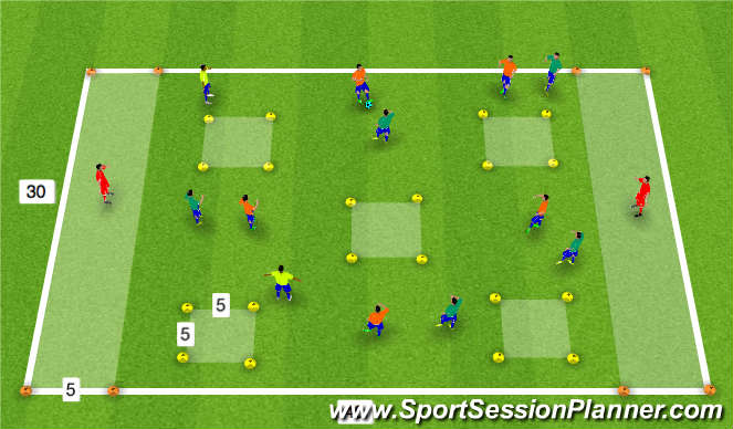 Football/Soccer Session Plan Drill (Colour): 5 Square Game