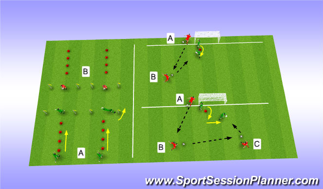 Football/Soccer Session Plan Drill (Colour): Technical Warm-up & Shot Stopping