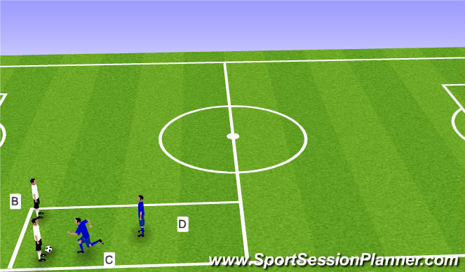 Football/Soccer Session Plan Drill (Colour): 2v2 Defense