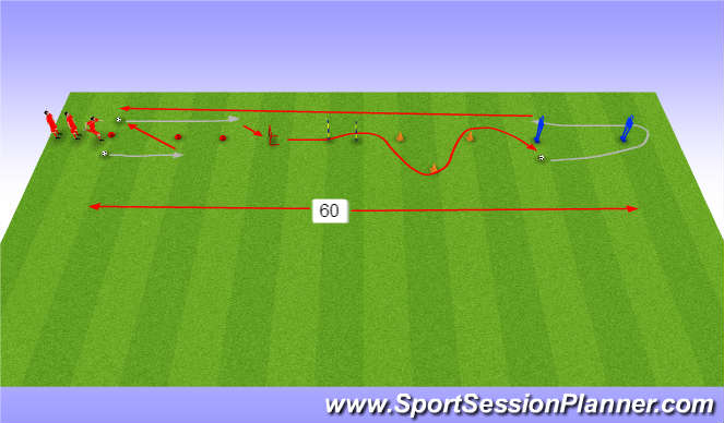 Football/Soccer Session Plan Drill (Colour): Endurance circuit with ball