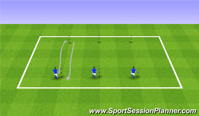 Football/Soccer Session Plan Drill (Colour): Crew Individual Dribbling