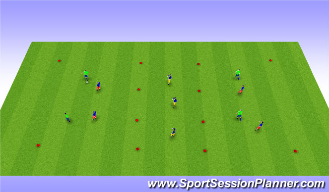 Football/Soccer Session Plan Drill (Colour): 2 v2 with neutral