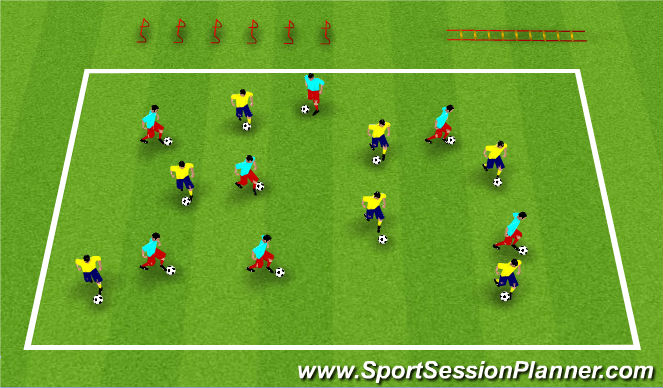 Football/Soccer Session Plan Drill (Colour): Warm Up & SAQ