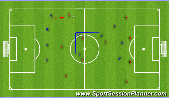 Football/Soccer Session Plan Drill (Colour): Winger in possession (v a 4-3-3)
