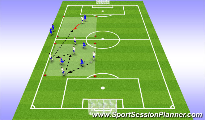 Football/Soccer Session Plan Drill (Colour): Rondo - 5v3 with penetration