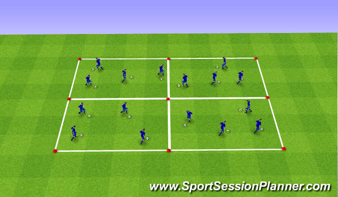 Football/Soccer Session Plan Drill (Colour): Warm Up 10mins