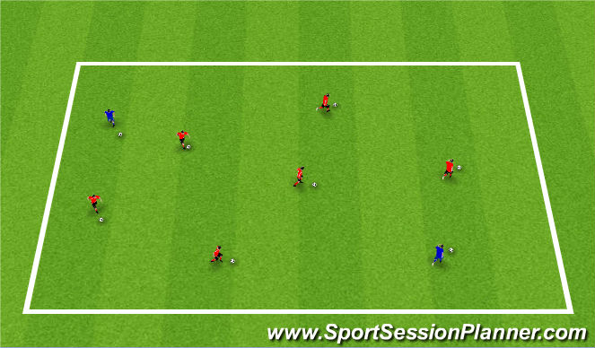 Football/Soccer Session Plan Drill (Colour): Wam-Up: Dribble Tag