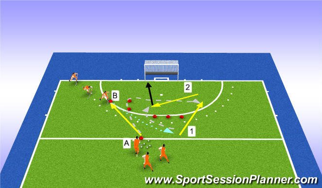 Hockey Session Plan Drill (Colour): connecting in D