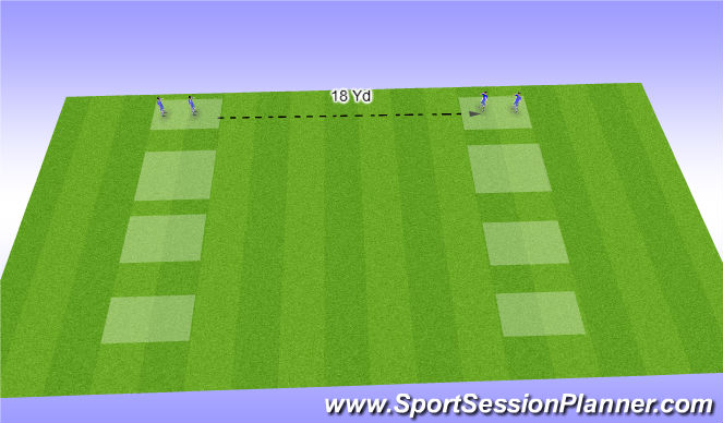 Football/Soccer Session Plan Drill (Colour): Passing. Various distances