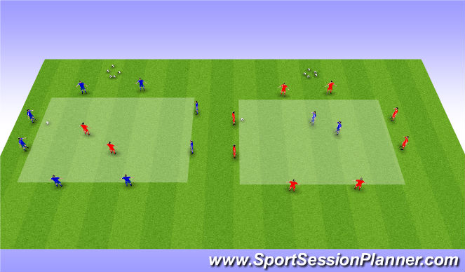 Football/Soccer Session Plan Drill (Colour): Principles of midfield pair