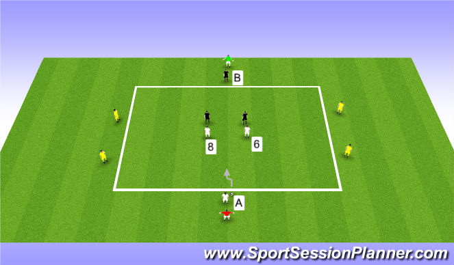 Football/Soccer Session Plan Drill (Colour): Possesion in a 2-4-1