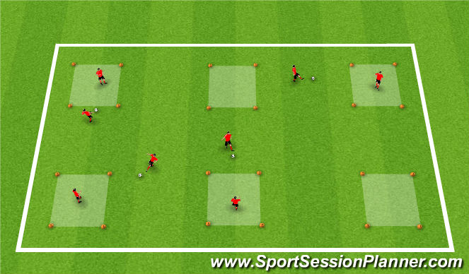 Football/Soccer Session Plan Drill (Colour): Warm-Up: Receiving Boxes