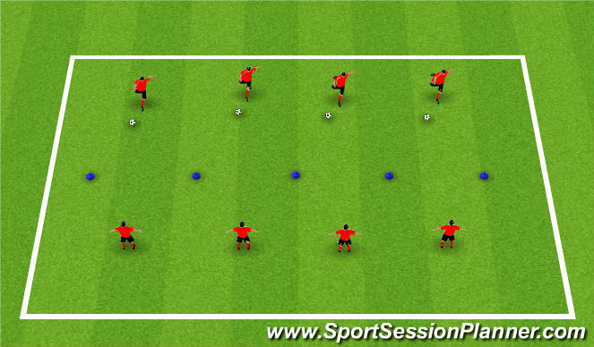 Football/Soccer Session Plan Drill (Colour): Warm-Up: Shooting through Gates