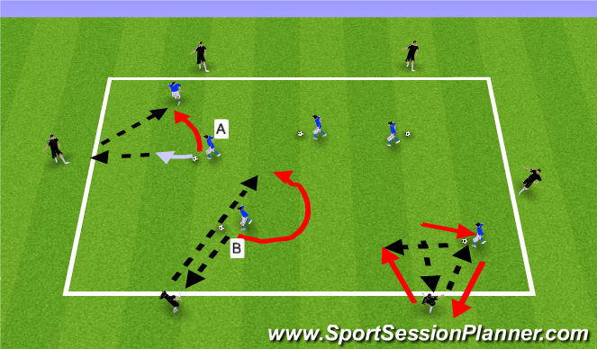 Football/Soccer Session Plan Drill (Colour): Warm-up 3: Peeling Off and Diagonal Balls