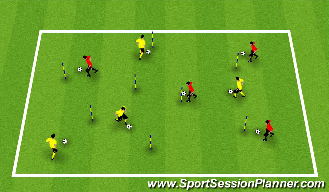 Football/Soccer Session Plan Drill (Colour): stepover