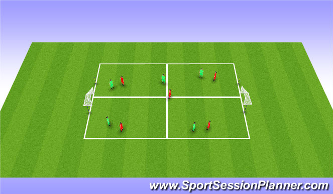 Football/Soccer Session Plan Drill (Colour): Hand/Chest/Head ball with mini goals