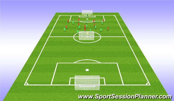 Football/Soccer Session Plan Drill (Colour): 11 v 11 & 1 x Floater Game