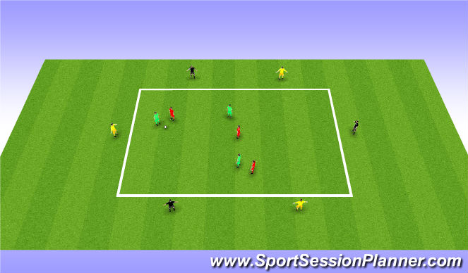 Football/Soccer Session Plan Drill (Colour): 3 v 3 Possession with 4 x Side Players & 2 x End Players