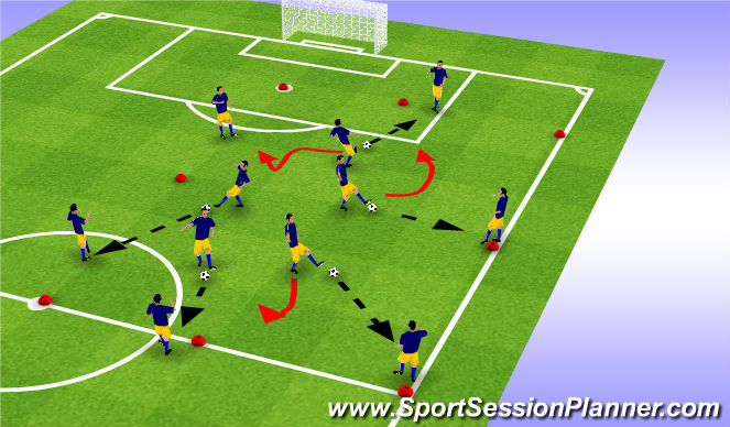 Football/Soccer Session Plan Drill (Colour): Warm up session One