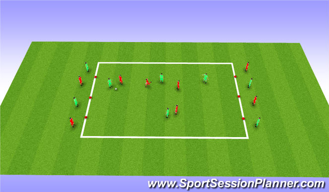 Football/Soccer Session Plan Drill (Colour): 4 v 4 Possession & 8 x End Players
