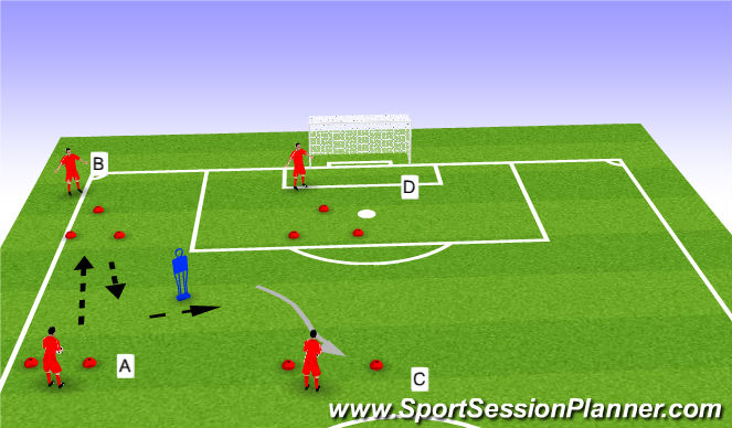 Football/Soccer Session Plan Drill (Colour): receiving and dribbling progression