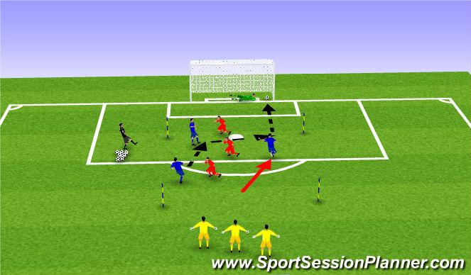 Football/Soccer Session Plan Drill (Colour): Possession and finish